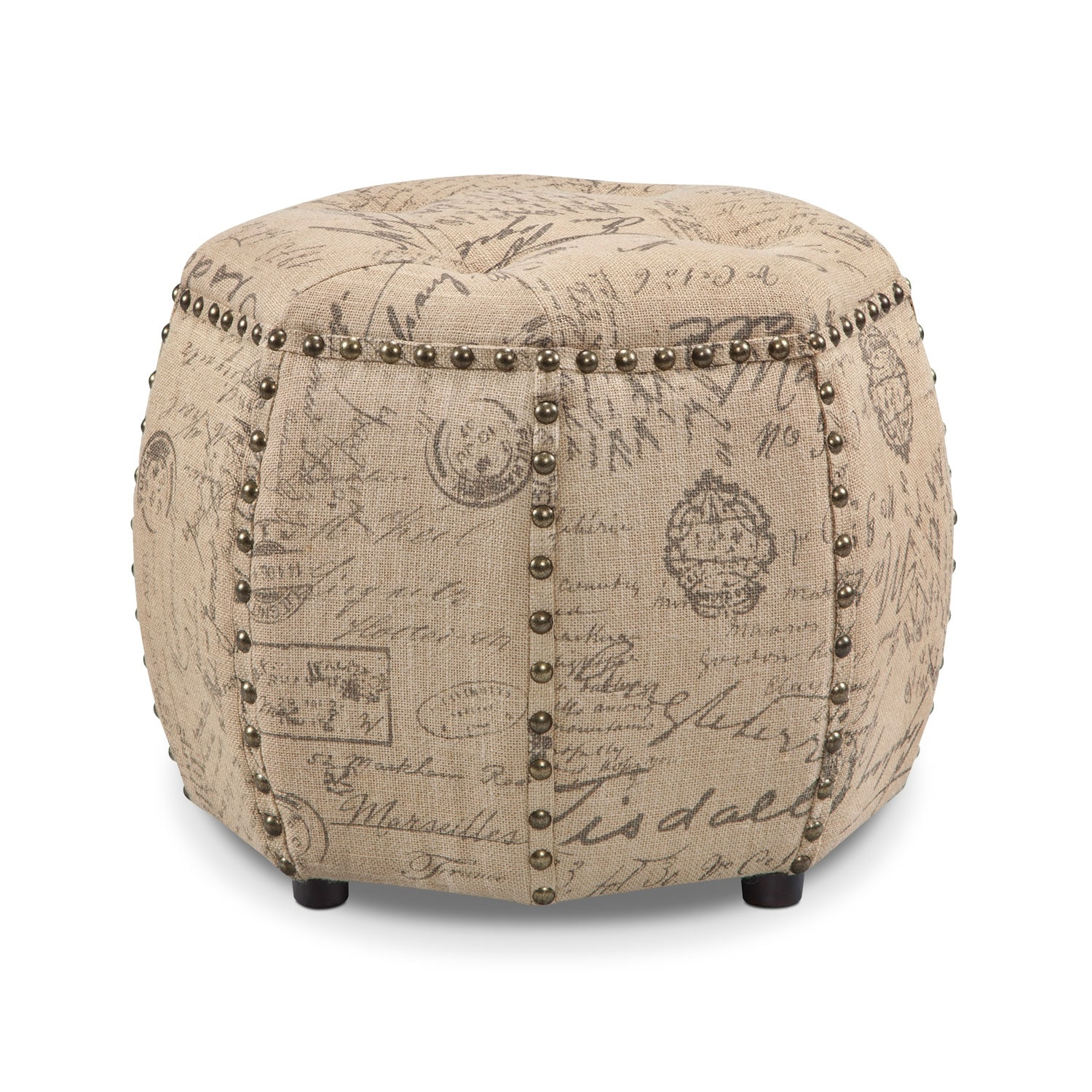 Living Room Furniture - Noble Ottoman - Beige