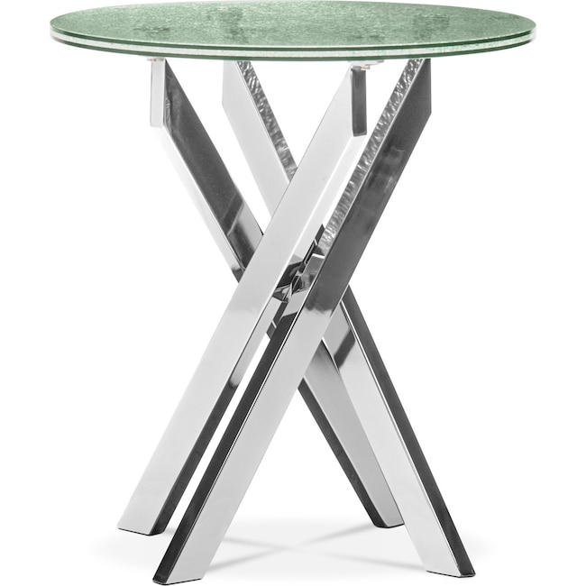 Accent and Occasional Furniture - Celestial End Table - Glass and Chrome