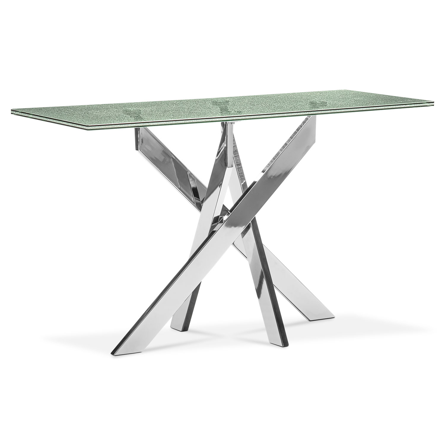 Celestial Console Table - Glass and Chrome