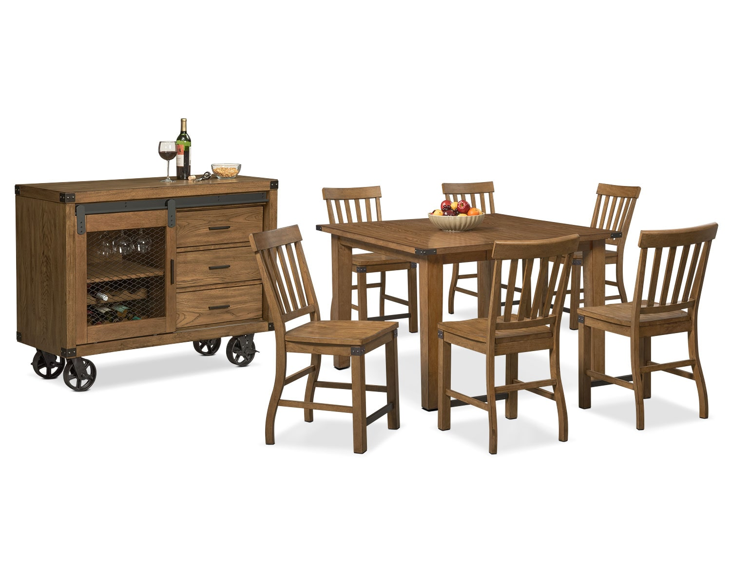 The Salem Counter-Height Dining Collection - Pecan