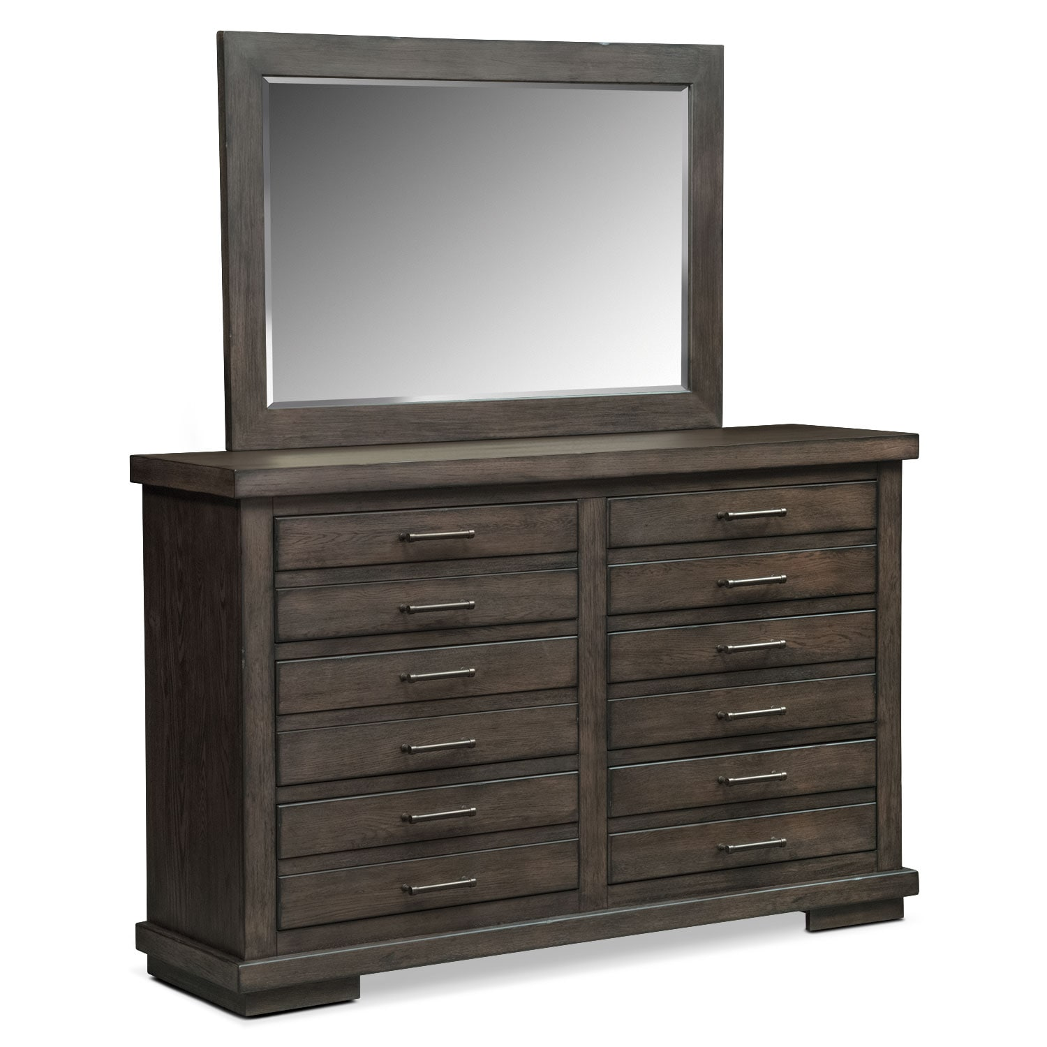 Bedroom Furniture - Jamestown Dresser and Mirror - Sable