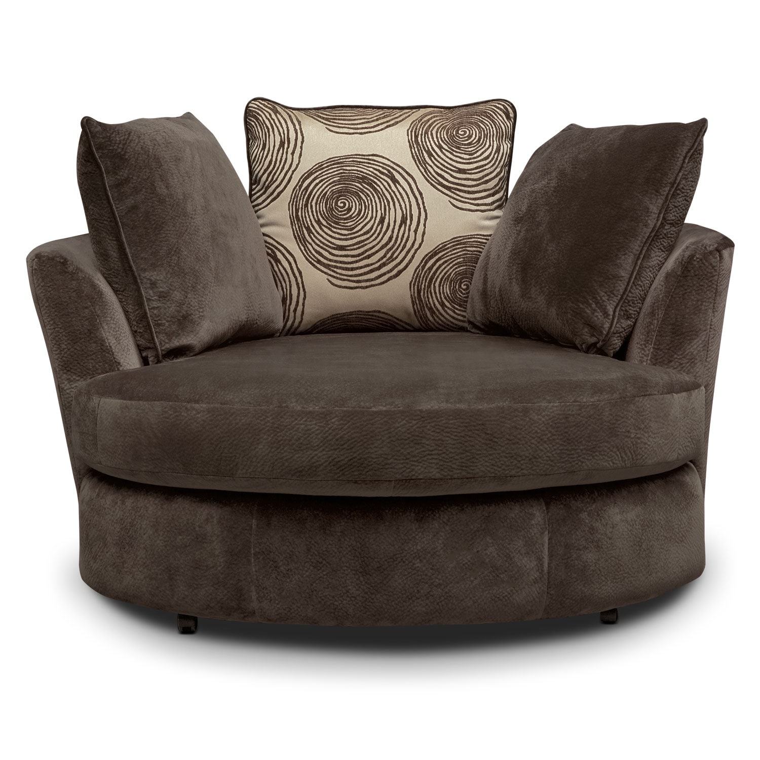 Cordelle swivel chair chocolate value city furniture - Swivel chair living room furniture ...
