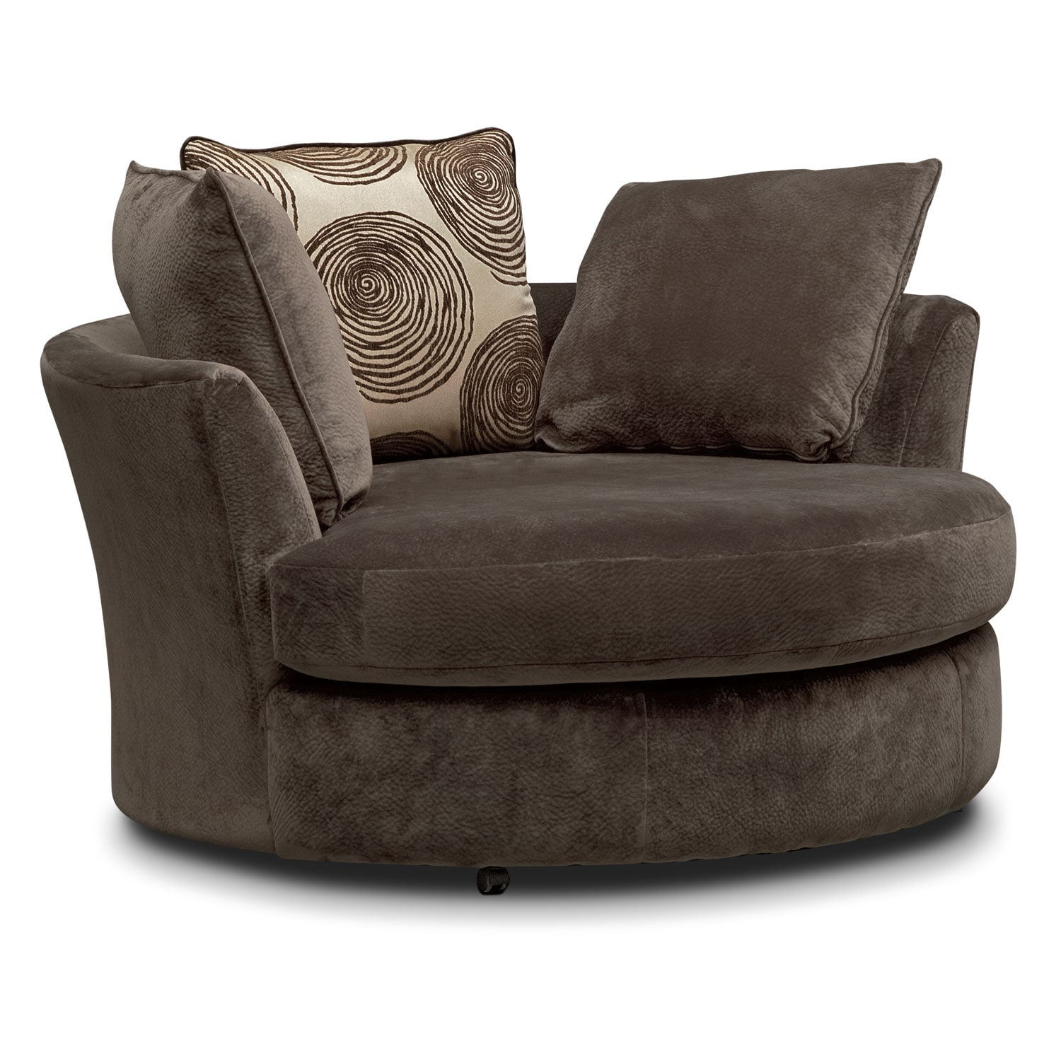 living room swivel chairs cordelle swivel chair chocolate value city furniture 12202