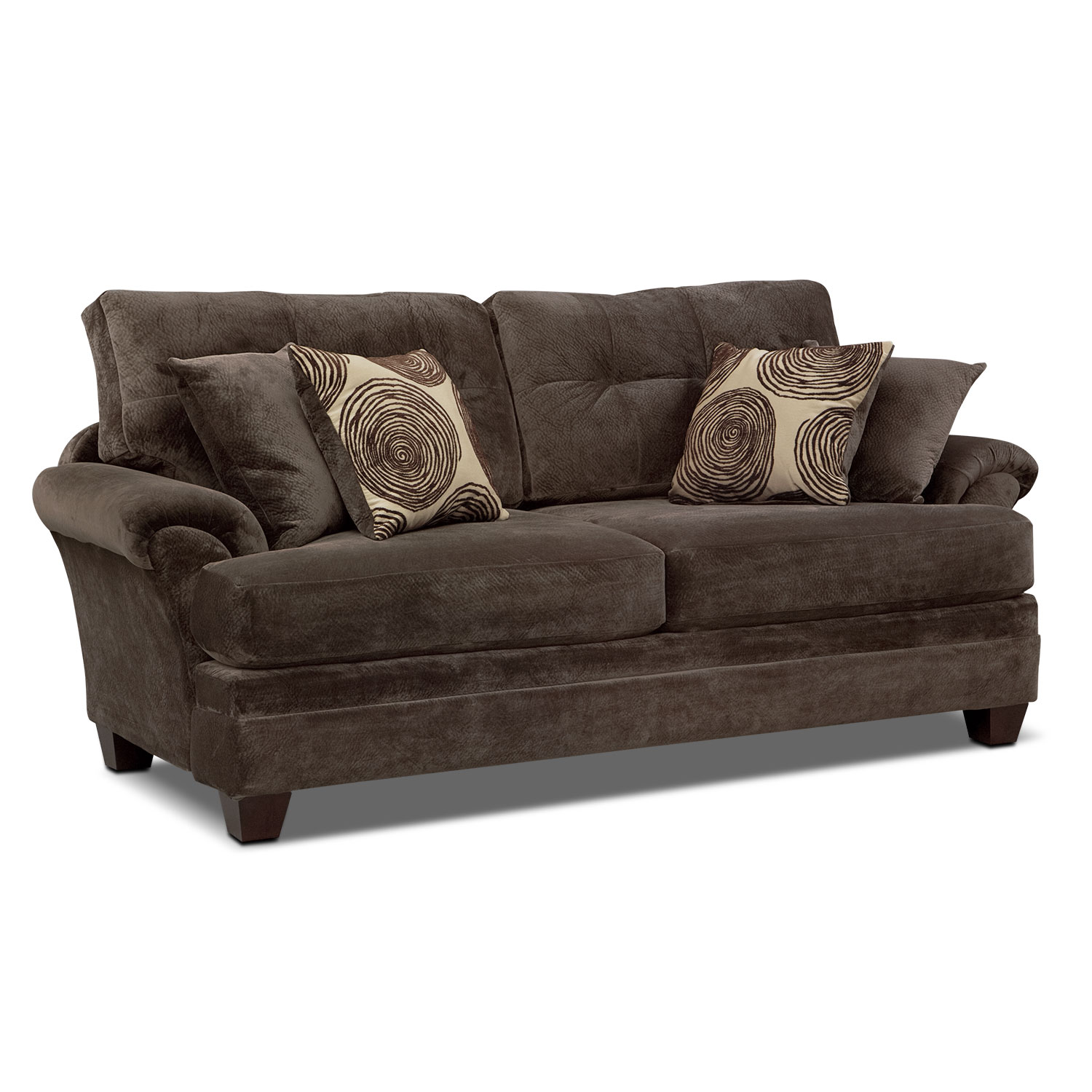 cordelle sofa chocolate value city furniture. Black Bedroom Furniture Sets. Home Design Ideas
