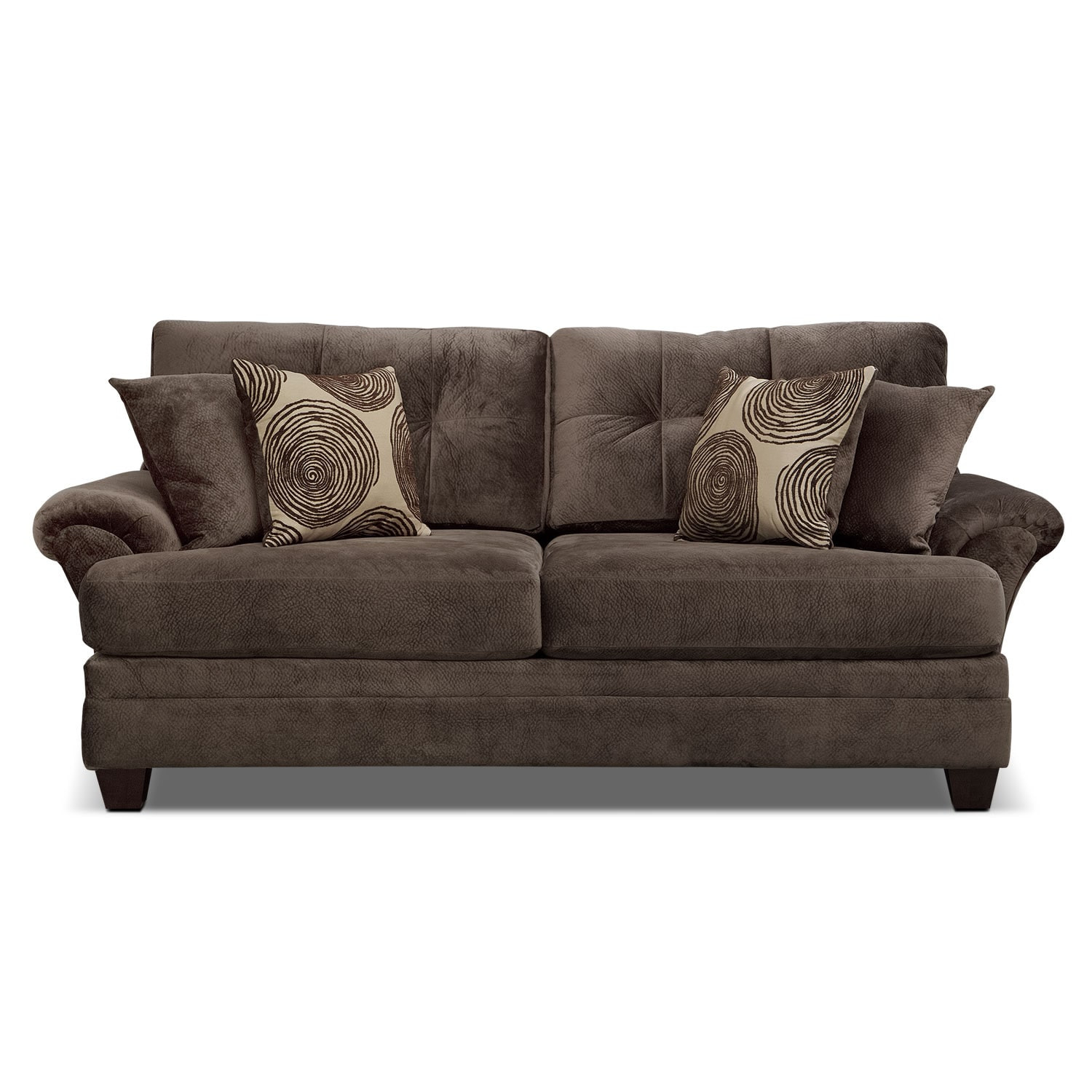 Cordelle Sofa Chocolate Value City Furniture And Mattresses