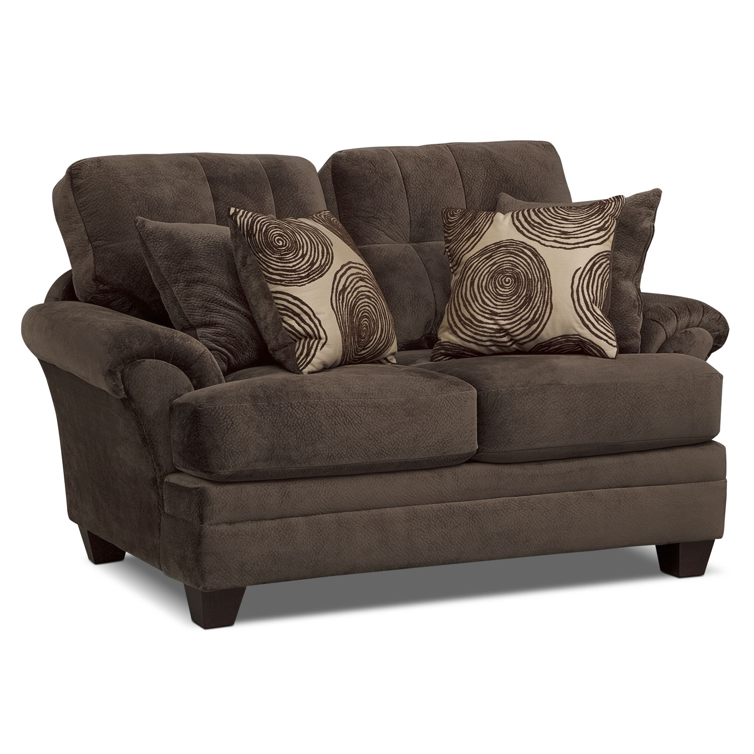 Cordelle Sofa Loveseat and Cocktail Ottoman Set Chocolate