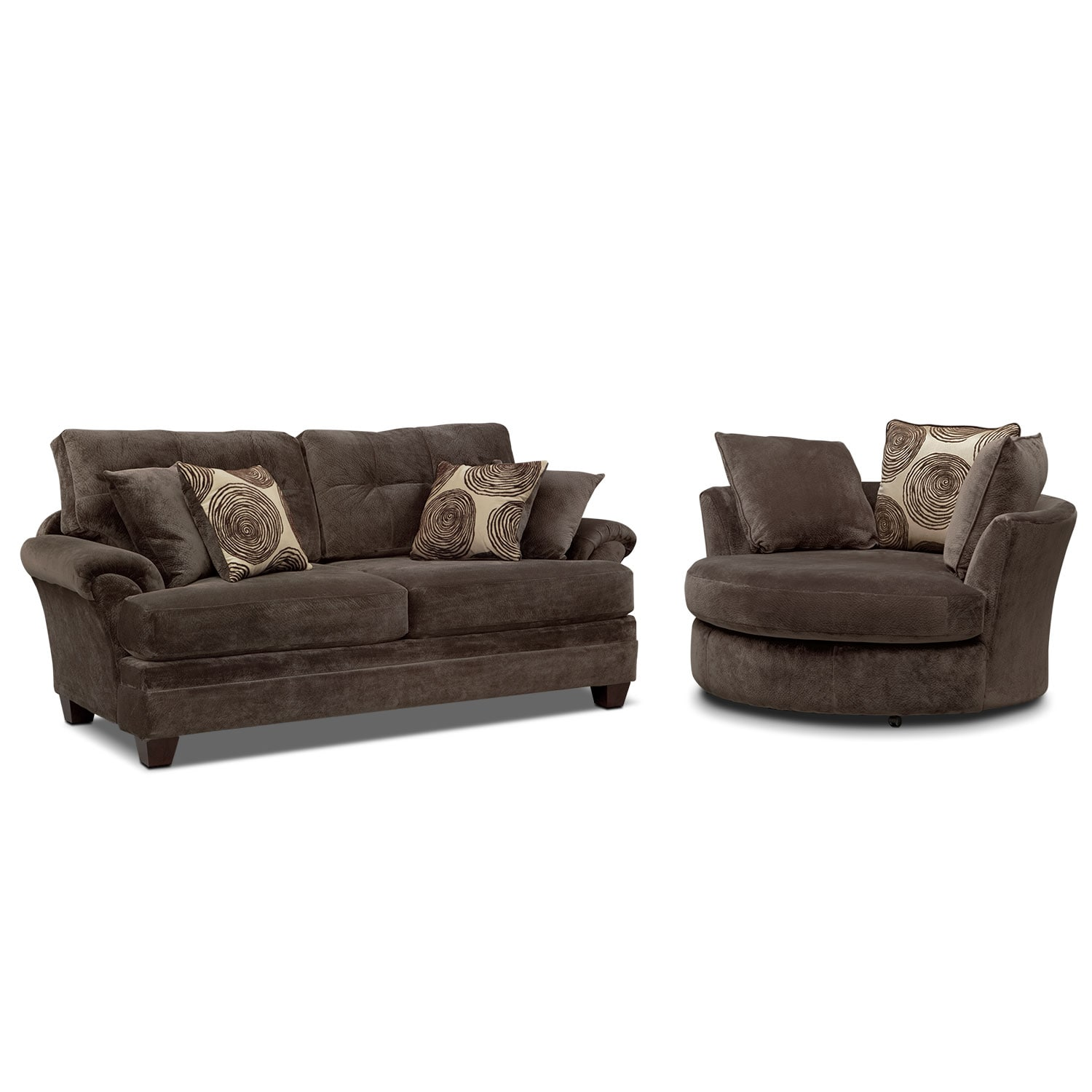 Cordelle Sofa and Swivel Chair Set Chocolate