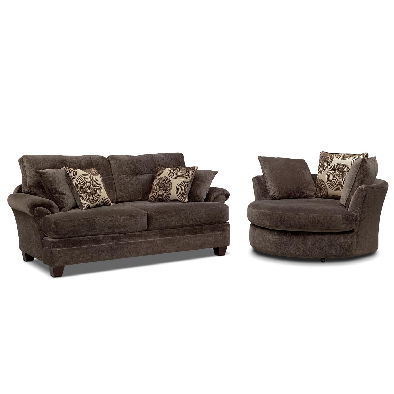 Swivel Sofa Cordelle Swivel Chair Chocolate Value City Furniture