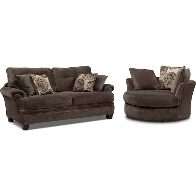 Living Room Furniture - Cordelle Sofa and Swivel Chair Set - Chocolate
