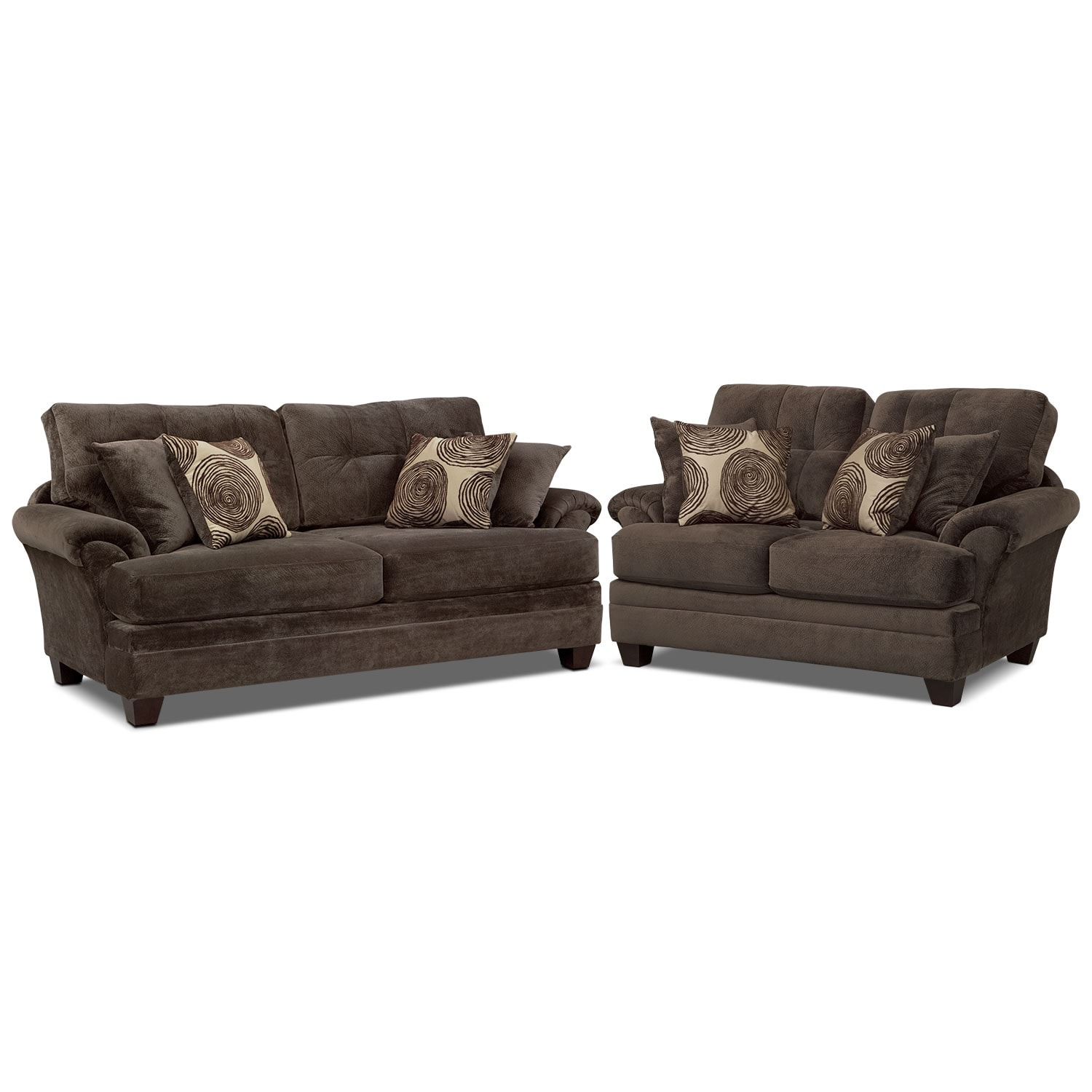 Value City Furniture Clearance Center: Cordelle Sofa And Loveseat Set - Chocolate