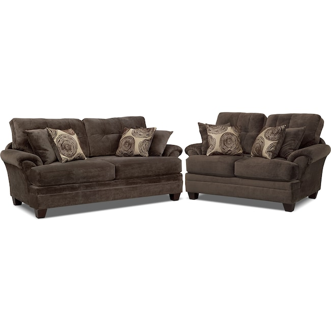 Living Room Furniture - Cordelle Sofa and Loveseat Set - Chocolate