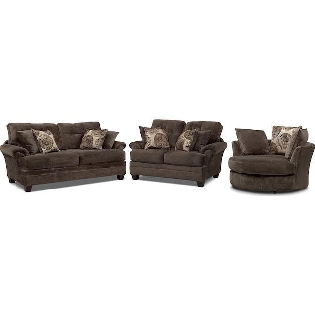 Living Room Furniture - Cordelle Sofa, Loveseat and Swivel Chair Set