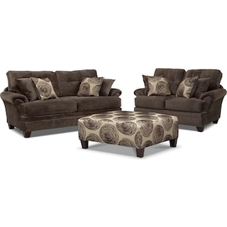 Cordelle Sofa, Loveseat and Cocktail Ottoman Set - Chocolate