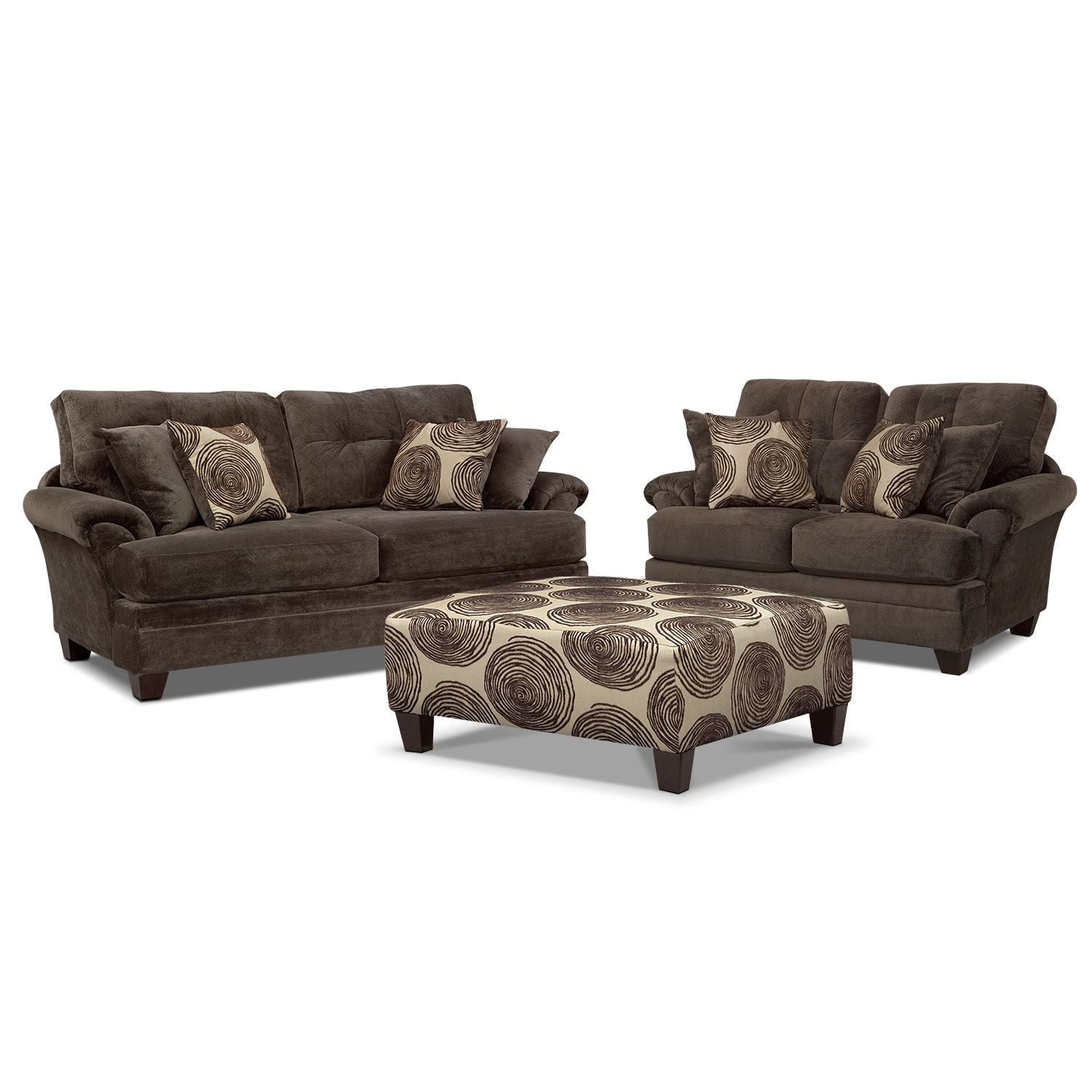 Living Room Furniture   Cordelle Sofa, Loveseat And Cocktail Ottoman Set    Chocolate