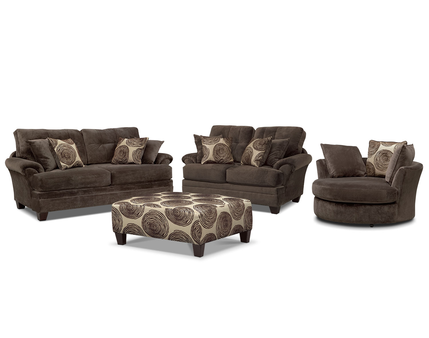 The Cordelle Living Room Collection - Chocolate | Value City ...