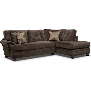 Cordelle 2-Piece Right-Facing Chaise Sectional - Chocolate