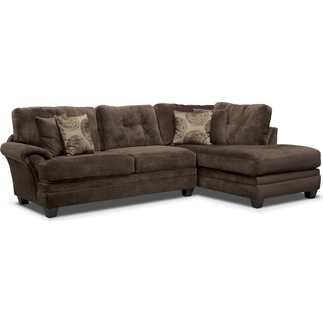 Living Room Furniture - Cordelle 2-Piece Sectional with Right-Facing Chaise - Chocolate