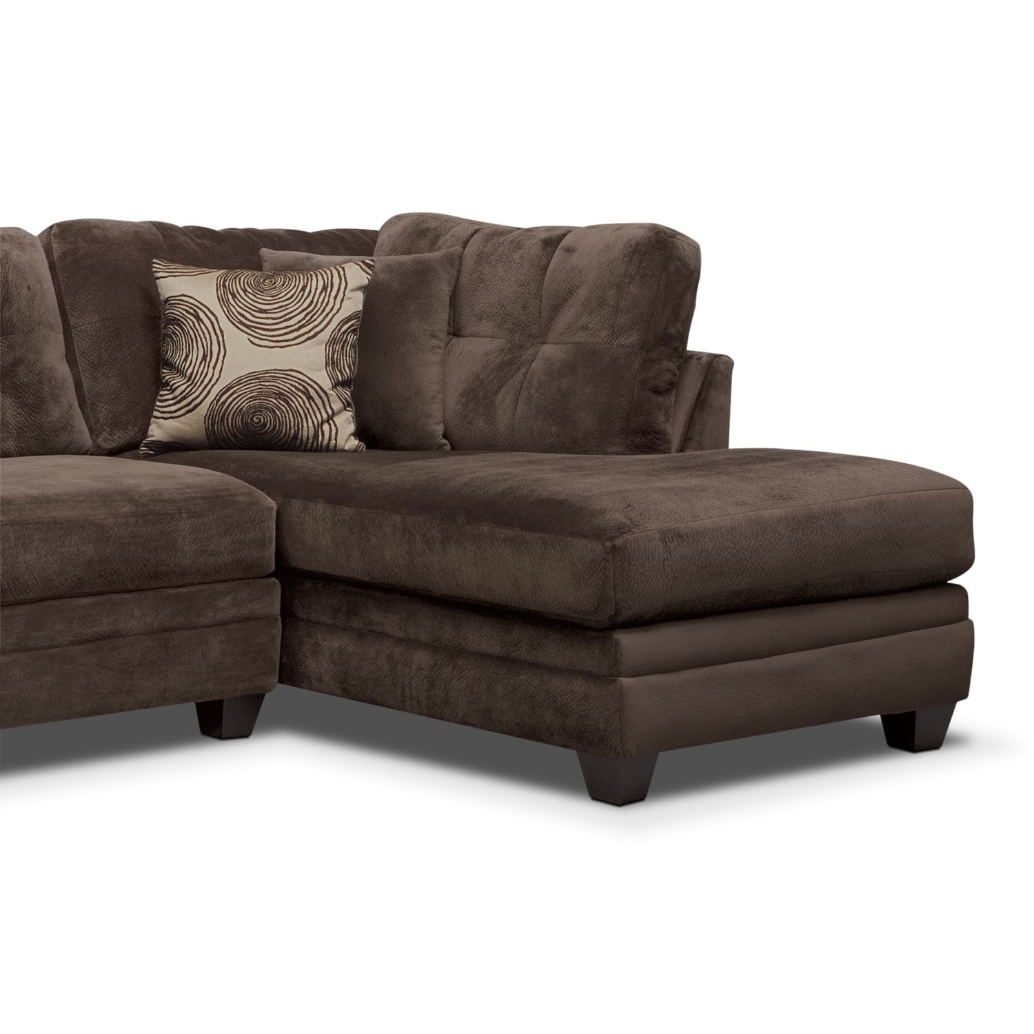 cordelle 2piece rightfacing chaise sectional chocolate by factory outlet