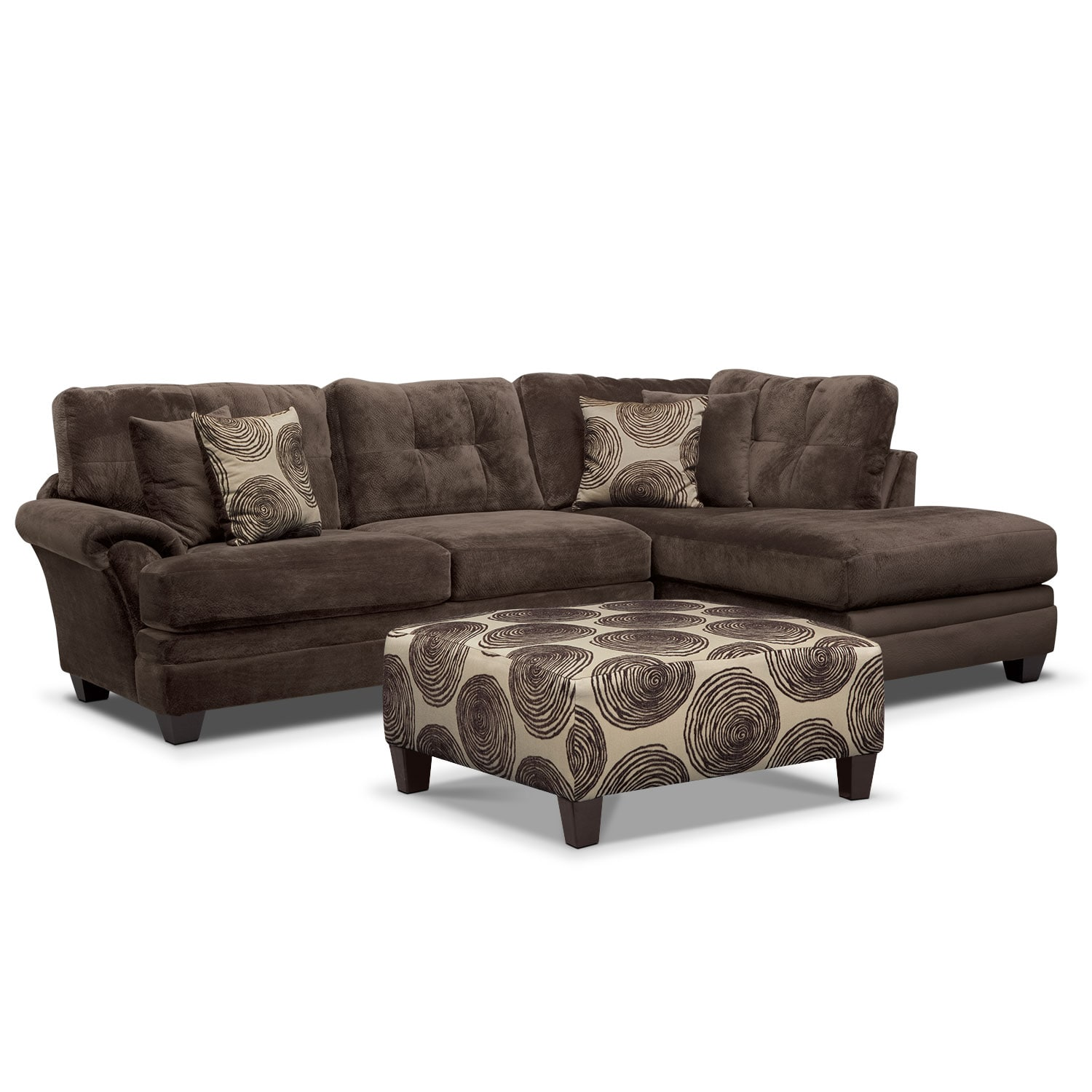 Living Room Furniture - Cordelle 2-Piece Right-Facing Chaise Sectional and Cocktail Ottoman Set - Chocolate