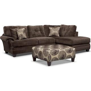 Cordelle 2-Piece Right-Facing Chaise Sectional and Cocktail Ottoman Set - Chocolate