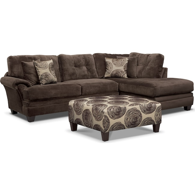 Cordelle 2 Piece Sectional Free Ottoman Value City Furniture And