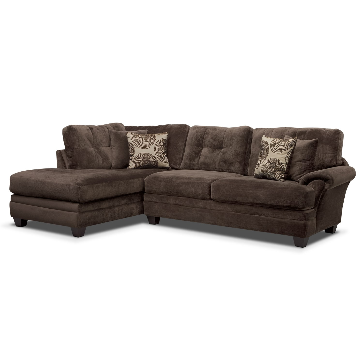 Cordelle 2-Piece Left-Facing Chaise Sectional - Chocolate
