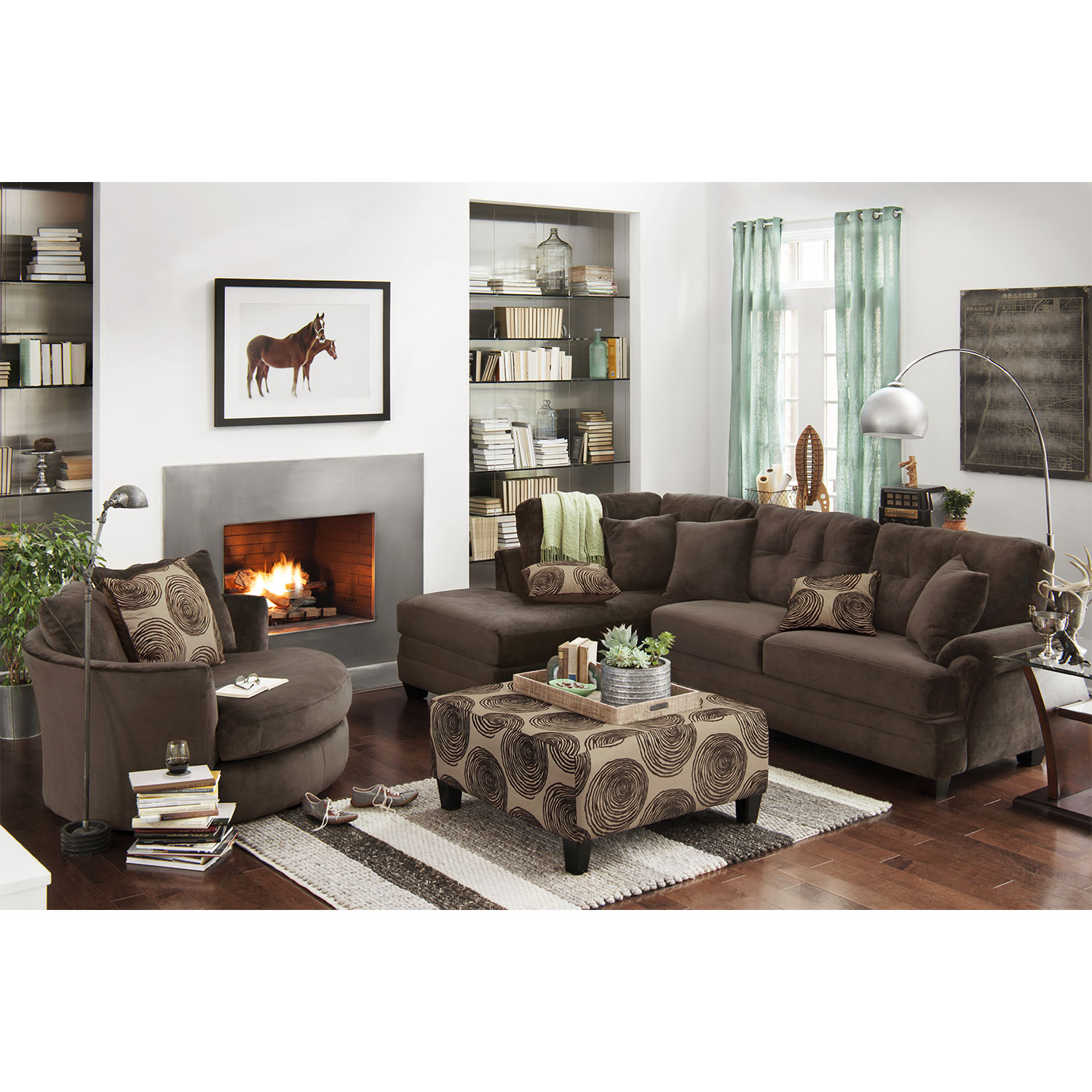 Living room furniture cordelle 2 piece sectional with chaise and swivel chair set hover touch to zoom click to change image