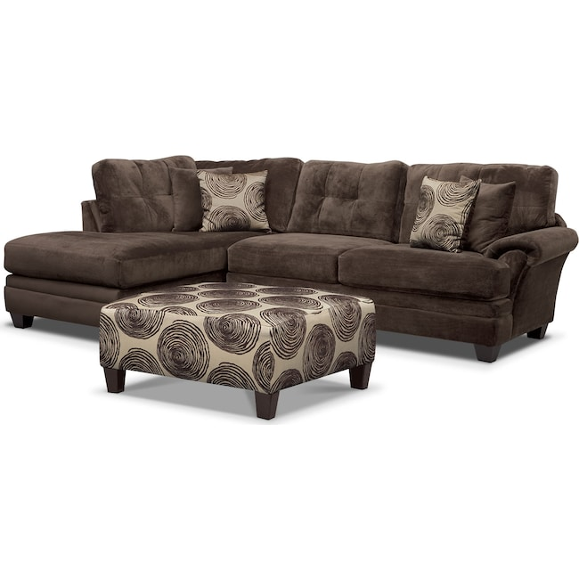 Living Room Furniture - Cordelle 2-Piece Left-Facing Chaise Sectional and Cocktail Ottoman Set - Chocolate