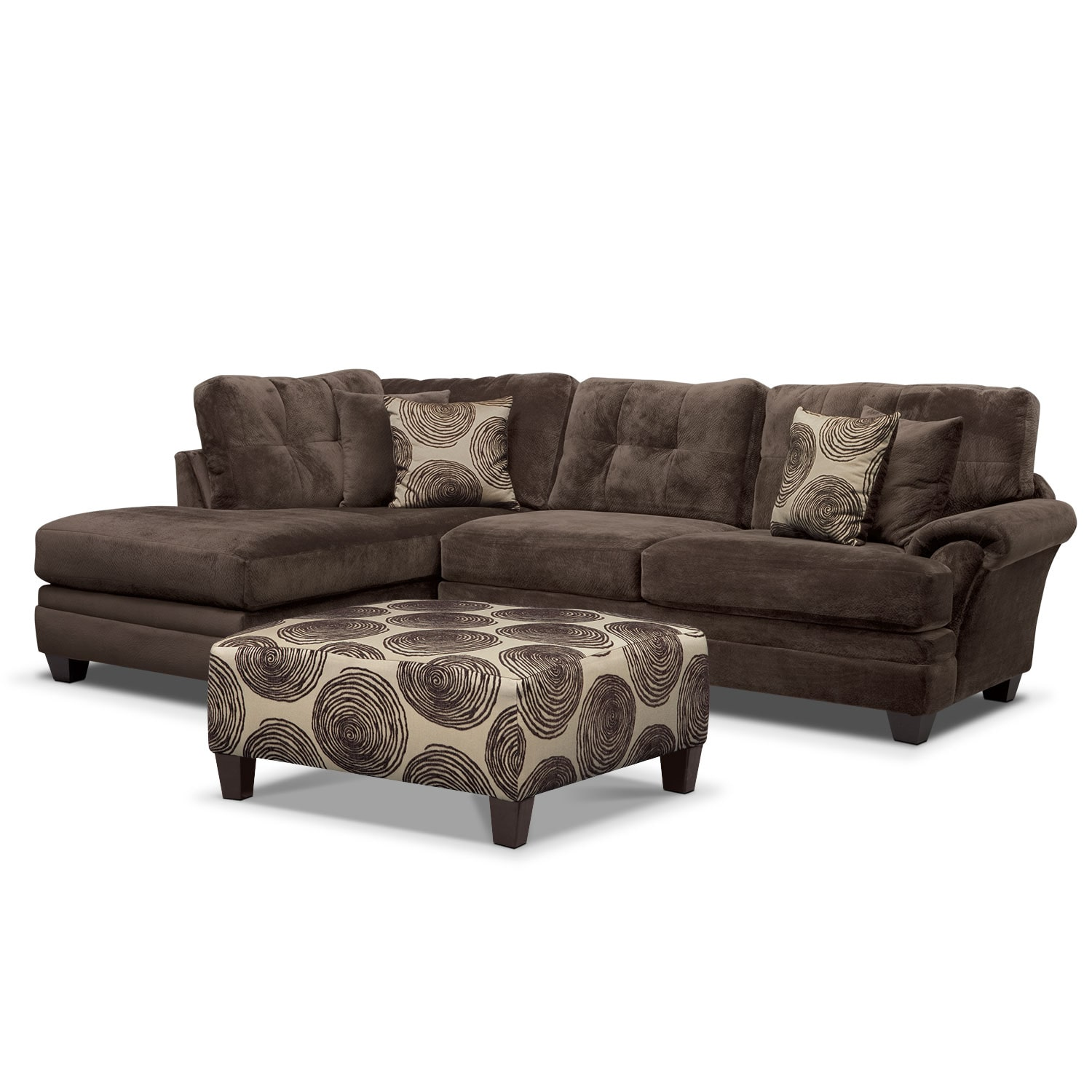 Cordelle 2-Piece Left-Facing Chaise Sectional and Cocktail Ottoman Set - Chocolate  sc 1 st  American Signature Furniture : american signature chaise - Sectionals, Sofas & Couches