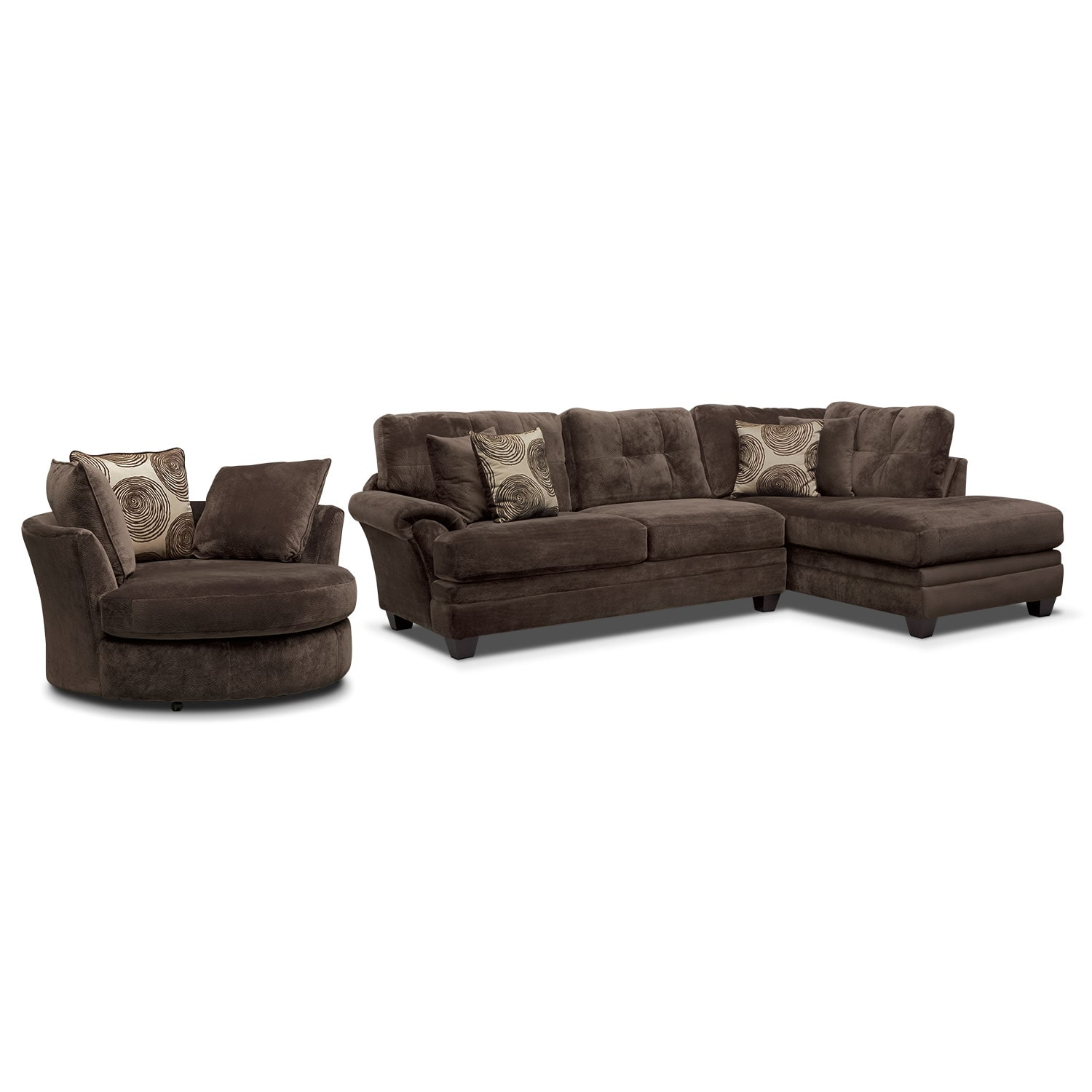 Cordelle 2Piece RightFacing Chaise Sectional  Chocolate