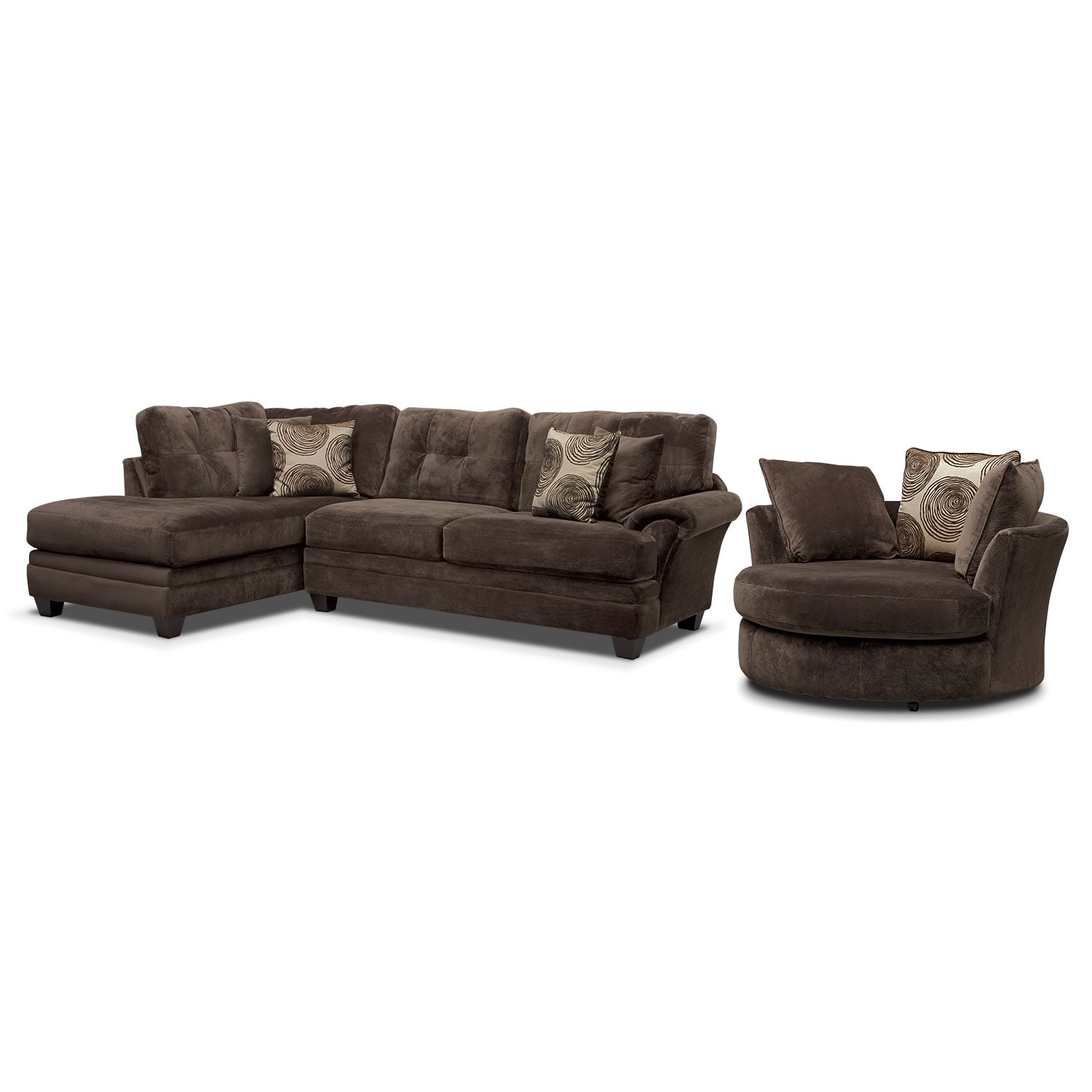 Ii 2 pc sectional and swivel chair american signature furniture - Cordelle 2 Piece Left Facing Chaise Sectional And Swivel Chair Set Chocolate