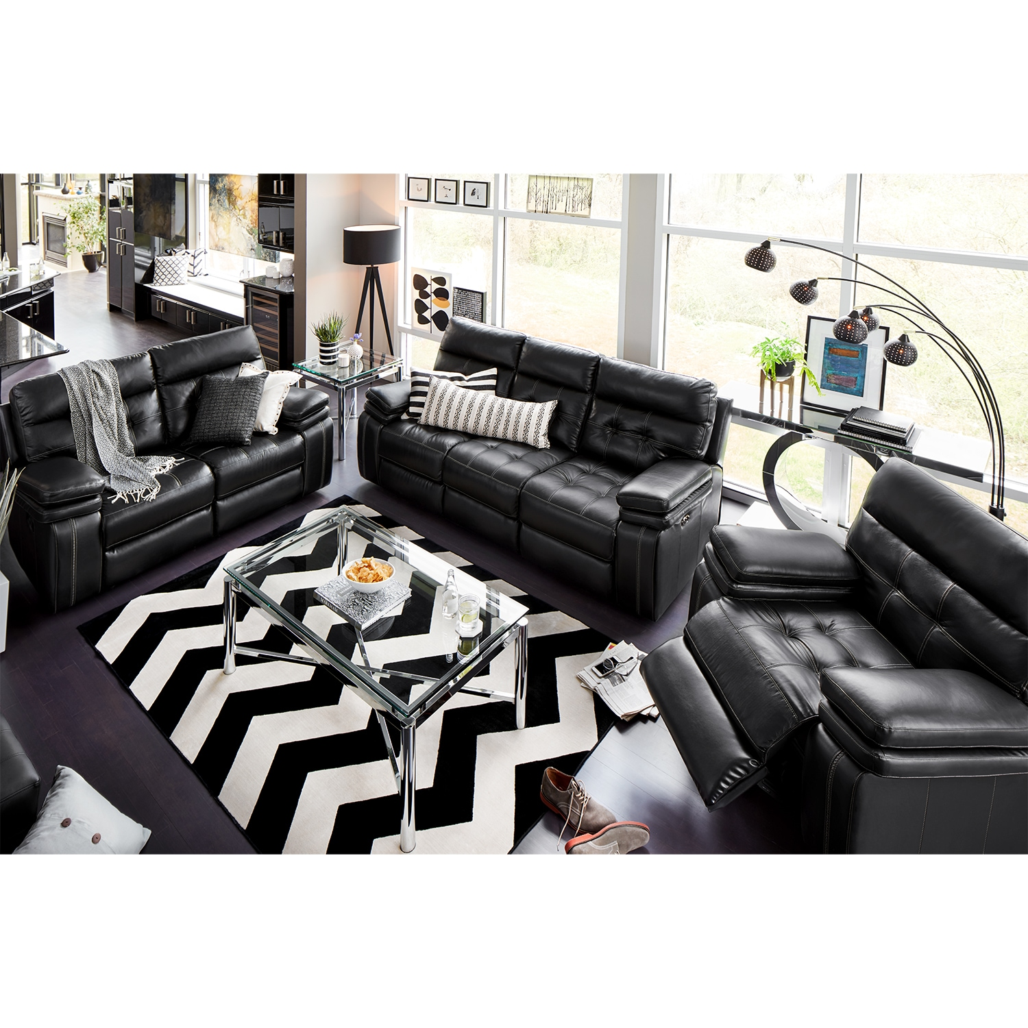 Brisco Power Reclining Sofa, Reclining Loveseat and Glider Recliner Set - Black