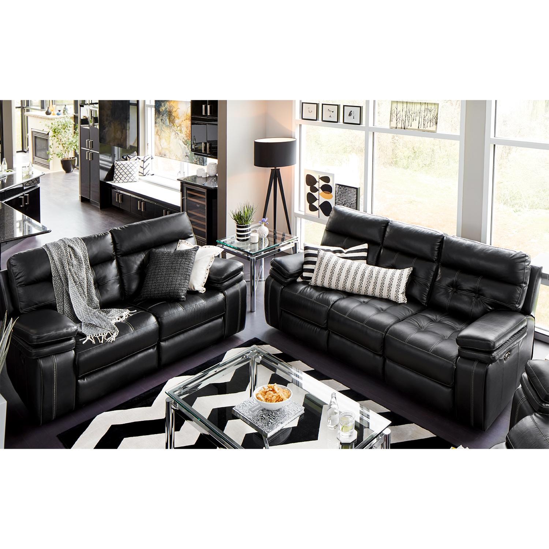 Living Room Furniture - Brisco Black 2 Pc. Power Reclining Living Room