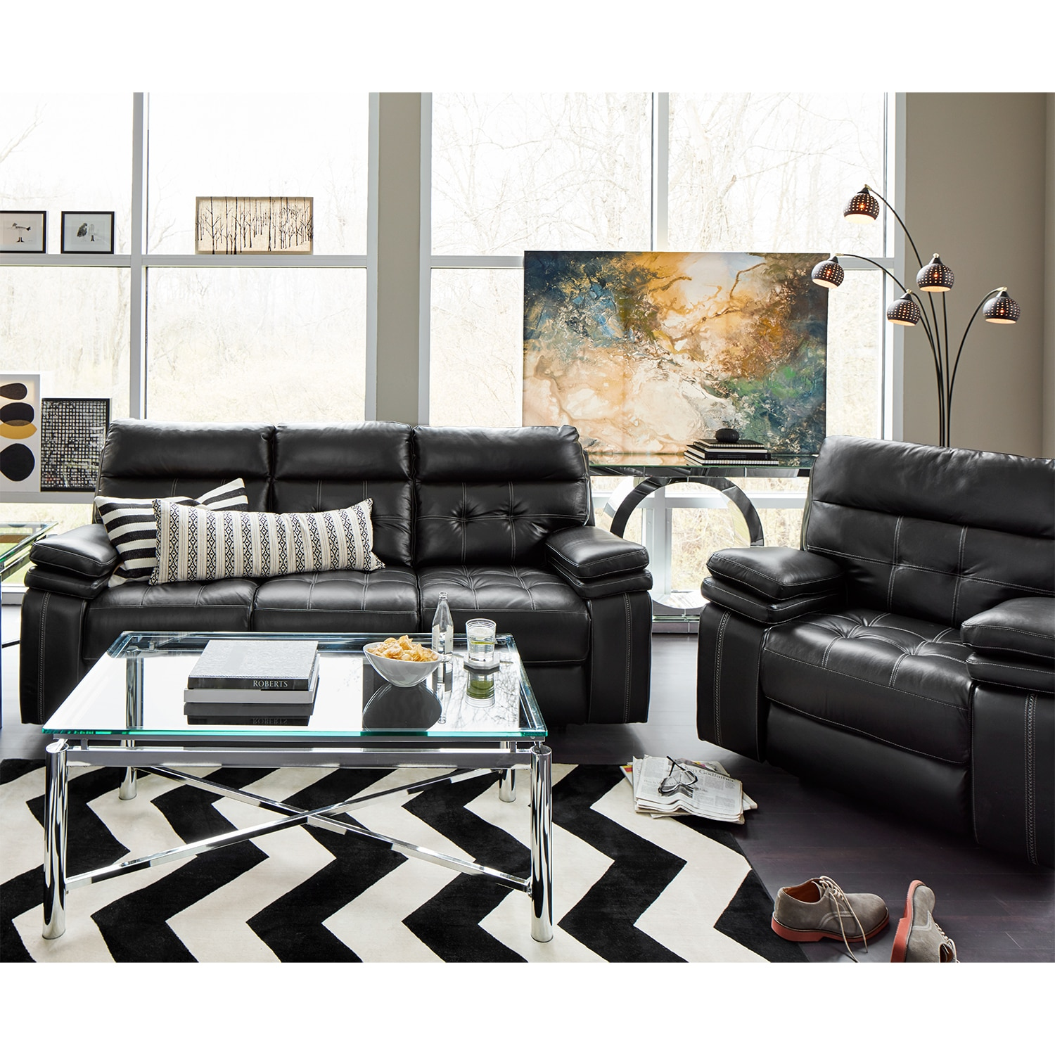 Brisco Power Reclining Sofa and Glider Recliner Set - Black