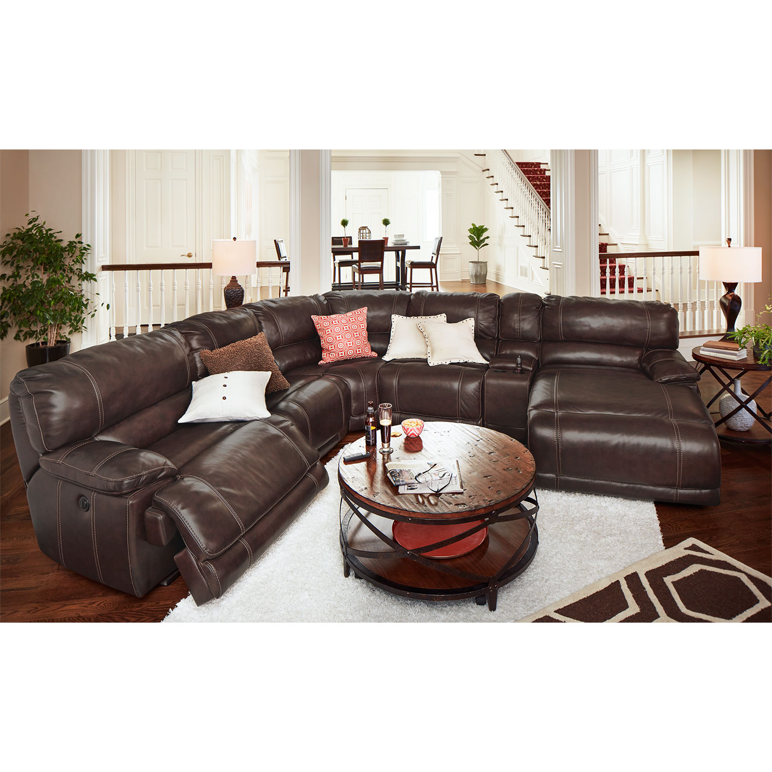 St. Malo 6-Piece Power Reclining Sectional with Right-Facing Chaise - Brown by One80  sc 1 st  Value City Furniture : reclining sectional with chaise - islam-shia.org