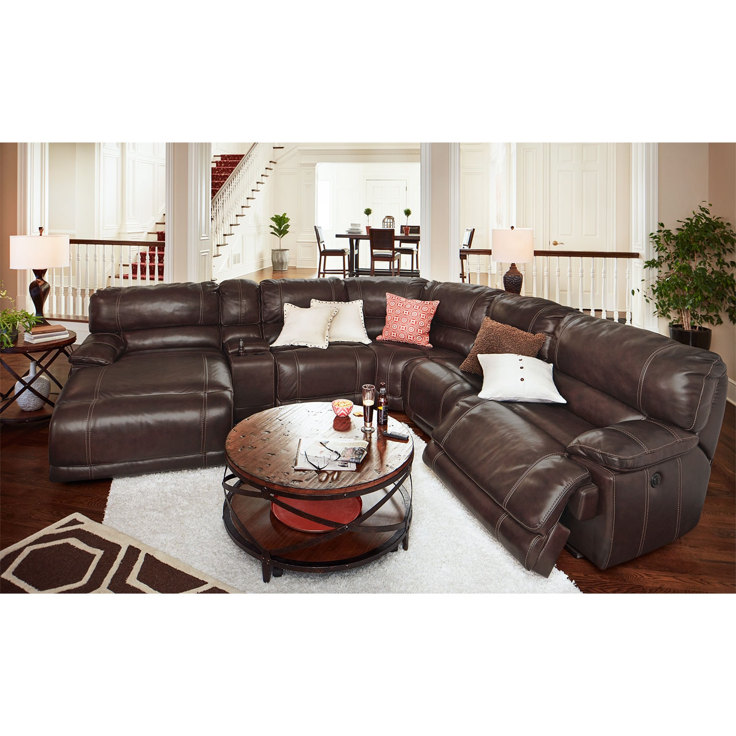 Recliner Sectional Coaster Grey Leather Reclining Sectional