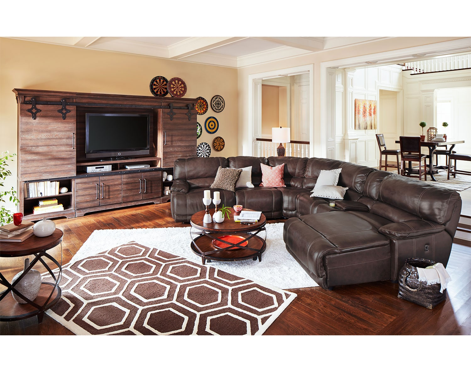 The St  Malo Collection   BrownLiving Room Collections   Value City Furniture. Living Room Collections. Home Design Ideas