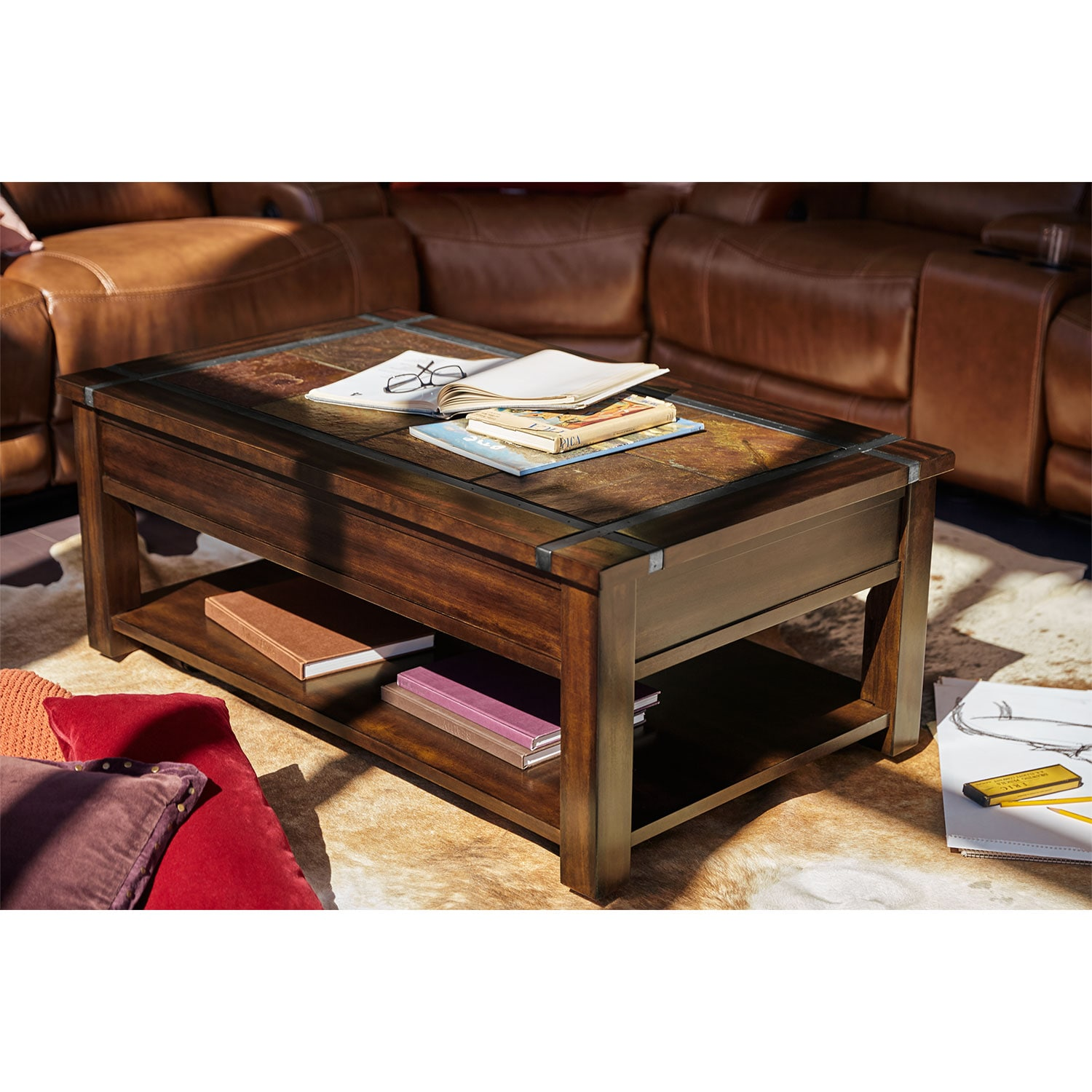 Slate Ridge Lift Top Cocktail Table Cherry