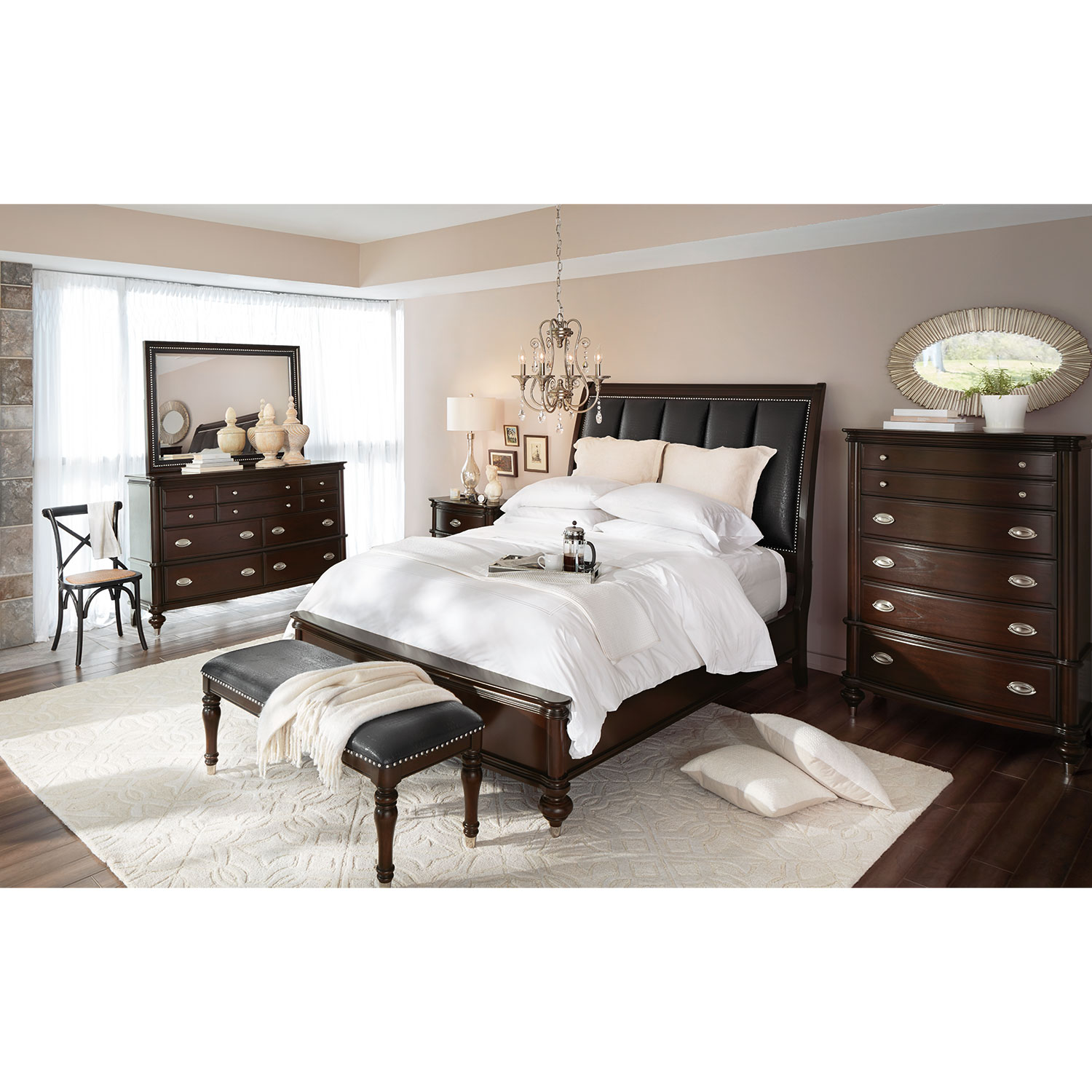 Esquire queen bed merlot value city furniture and for American bedrooms