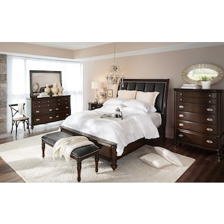 Esquire 6-Piece Bedroom Set with Nightstand, Dresser and Mirror