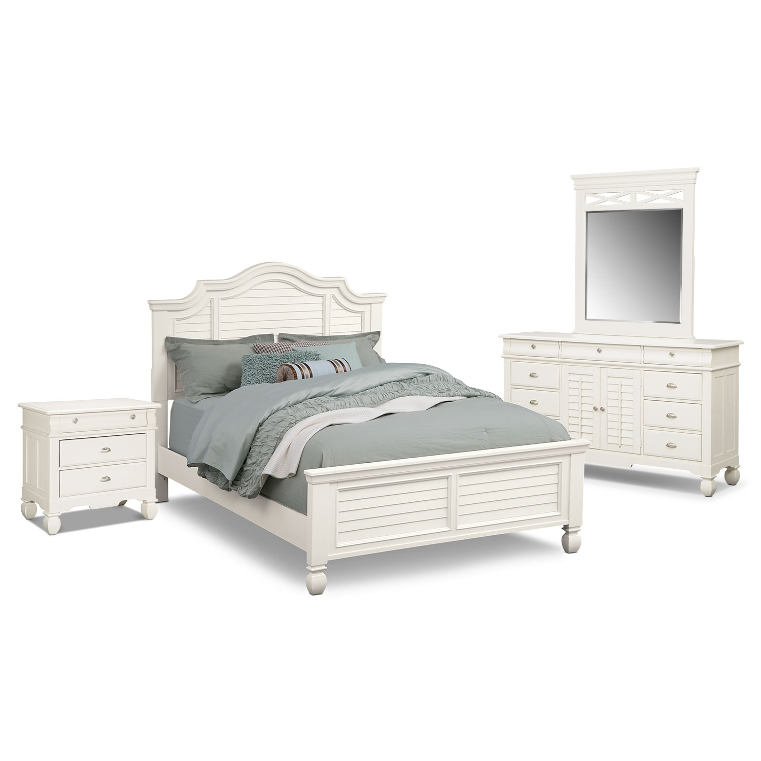 Bedroom Furniture - Plantation Cove 6-Piece King Panel Bedroom Set - White