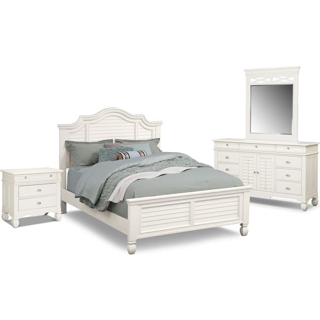 Bedroom Furniture - Plantation Cove 6-Piece Queen Panel Bedroom Set - White