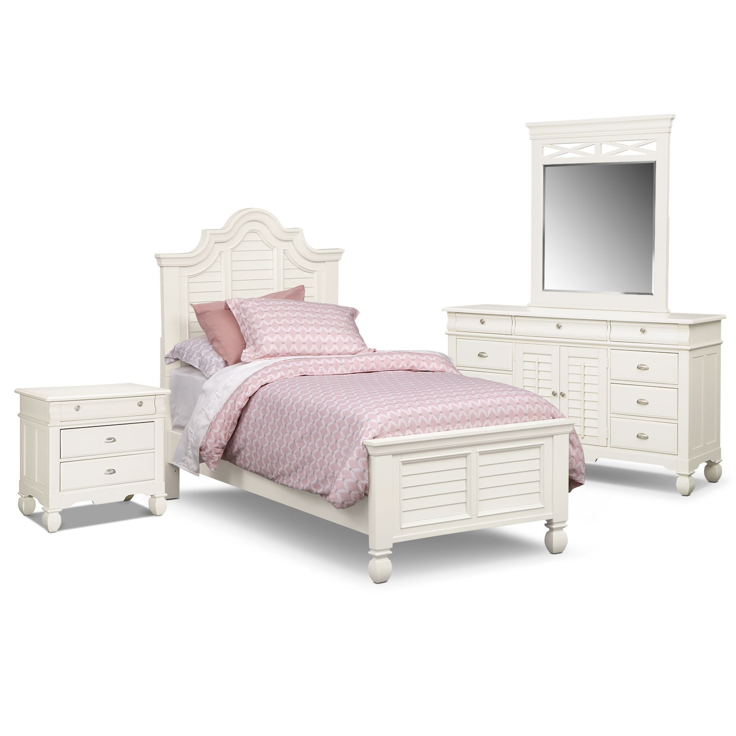 Kids Furniture - Plantation Cove 6-Piece Full Bedroom Set - White