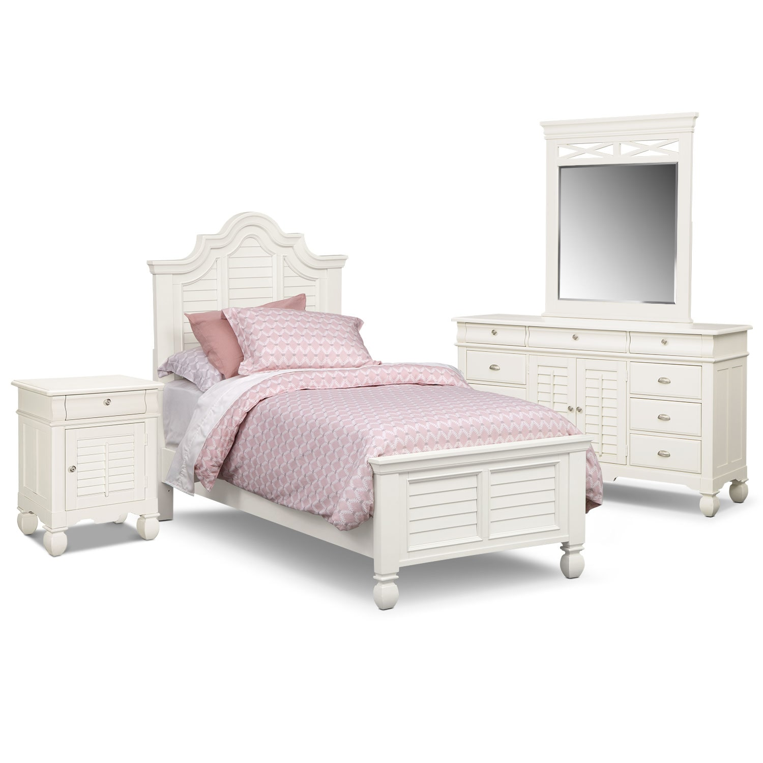 Bedroom Furniture - Plantation Cove 6-Piece Full Bedroom Set with Door Nightstand - White