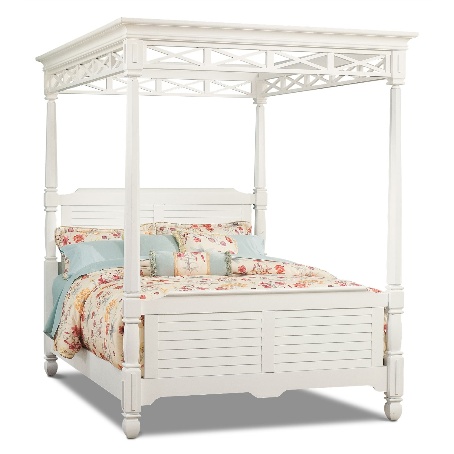 Plantation Cove King Canopy Bed - White