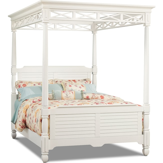 Bedroom Furniture - Plantation Cove Queen Canopy Bed - White