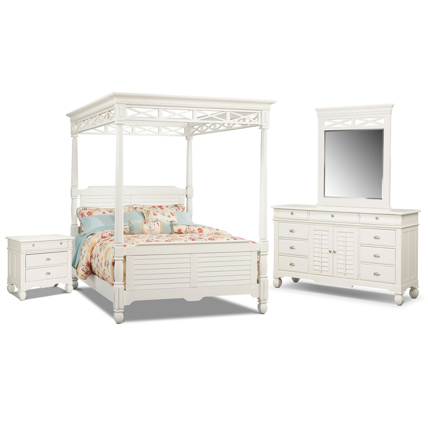 Bedroom Furniture - Plantation Cove White Canopy 6 Pc. King Bedroom (Alternate)