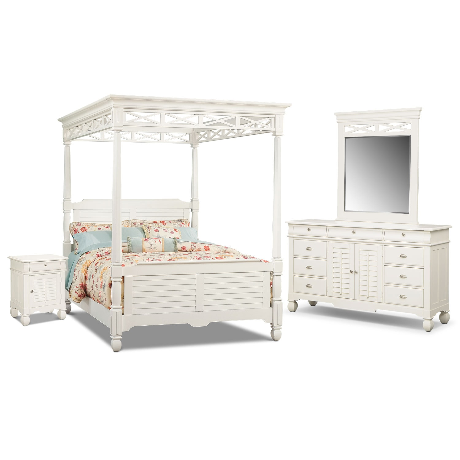 Bedroom Furniture - Plantation Cove 6-Piece King Canopy Bedroom Set with Door Nightstand - White