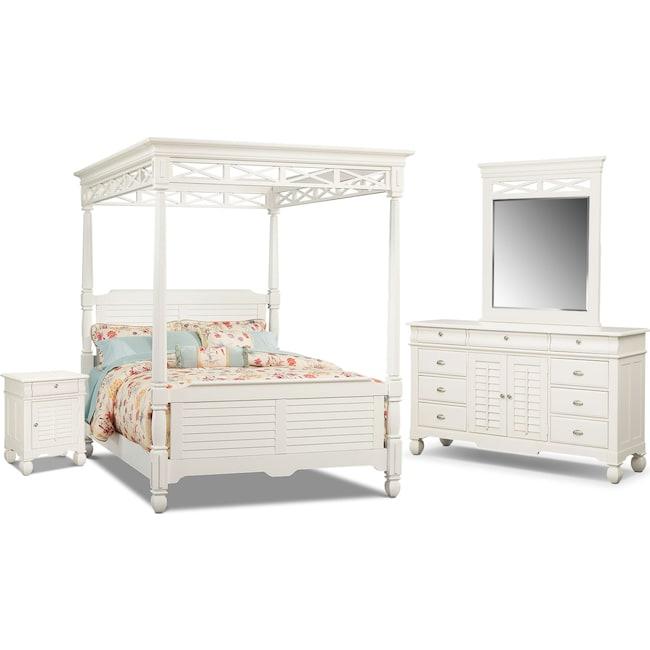 Bedroom Furniture - Plantation Cove 6-Piece King Canopy Bedroom Set with Door Nightstand - White