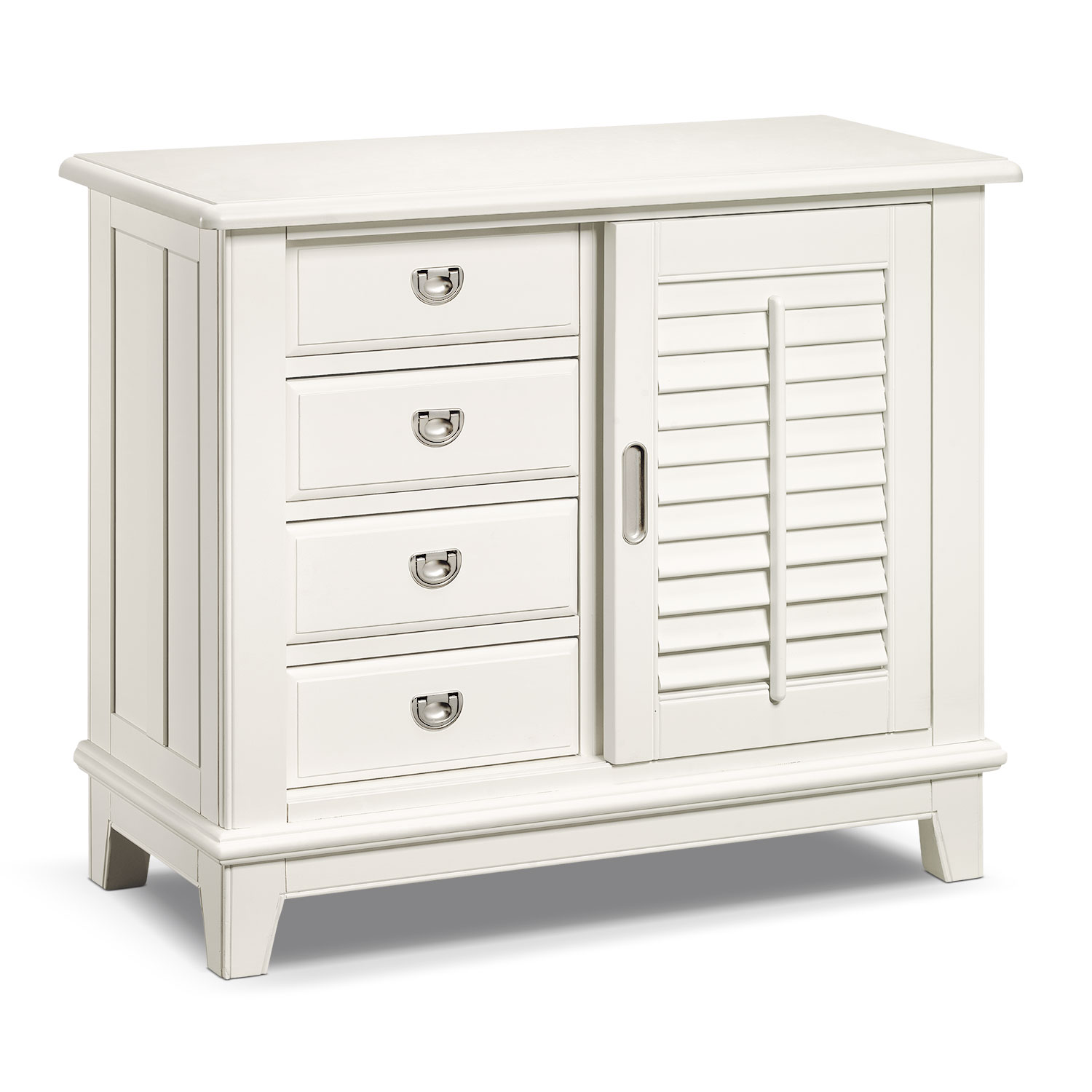 Plantation Cove Sliding Door Chest - White